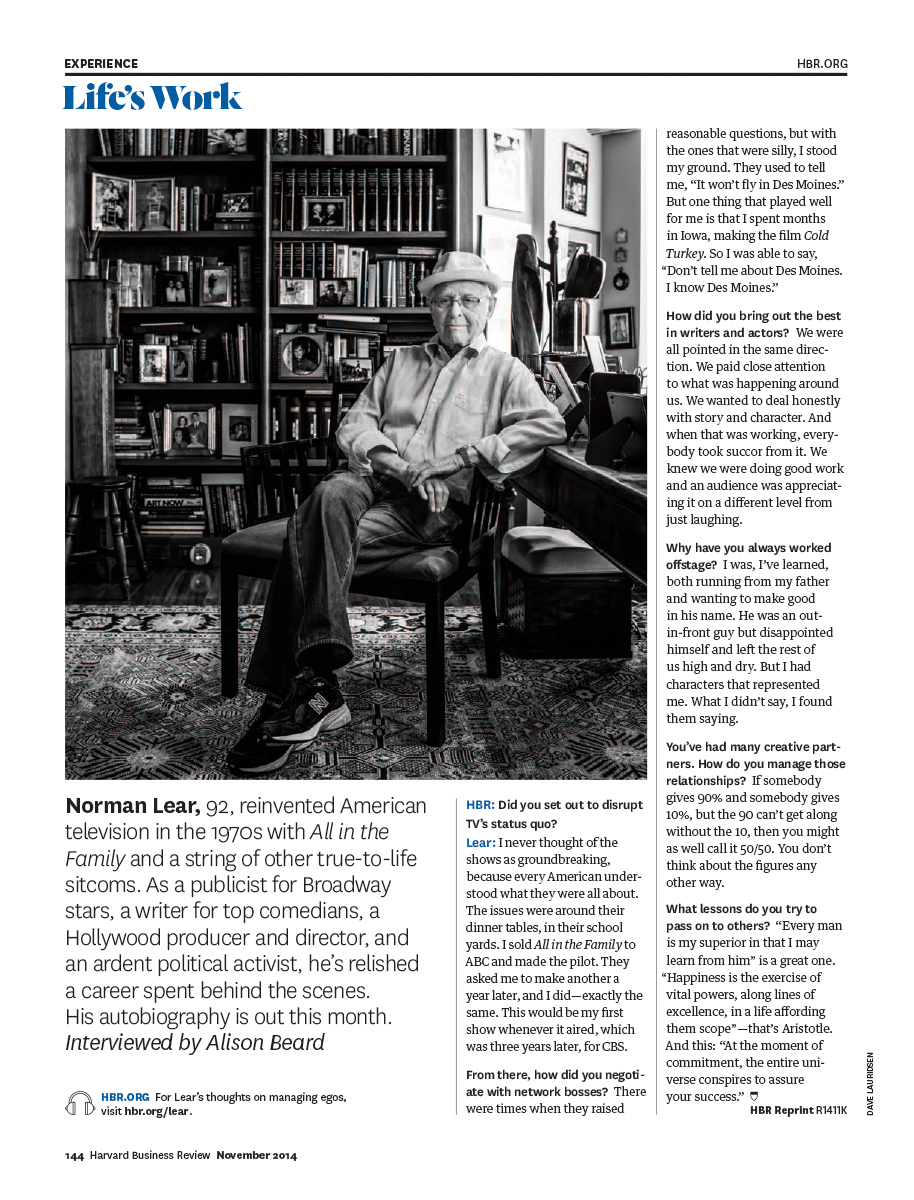 Norman Lear for Harvard Business Review